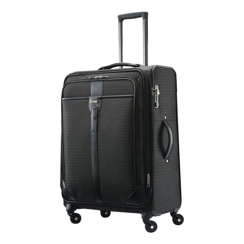 ハートマンラッゲージ メンズ スーツケース バッグ Luxe Medium Journey Expandable Checked Spinner Black Jacquard