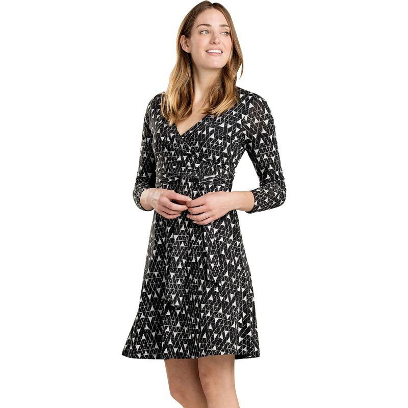 トードアンドコー レディース ワンピース トップス Womens Cue Wrap Long Sleeve Dress S - Black Line Print