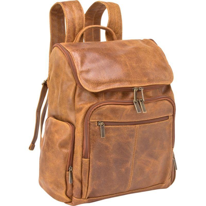 ルドネレザー メンズ スーツケース バッグ Distressed Leather Computer Backpack Tan