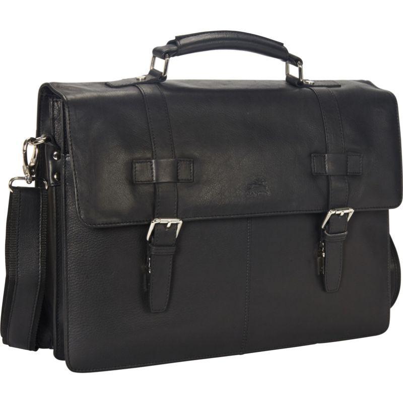マンシニレザーグッズ メンズ スーツケース バッグ Colombian Double Compartment 15.6 Laptop/Tablet Flap Briefcase Black
