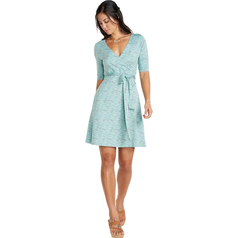 トードアンドコー レディース ワンピース トップス Womens Cue Wrap Cafe Dress XS - Aquifer Wave Print