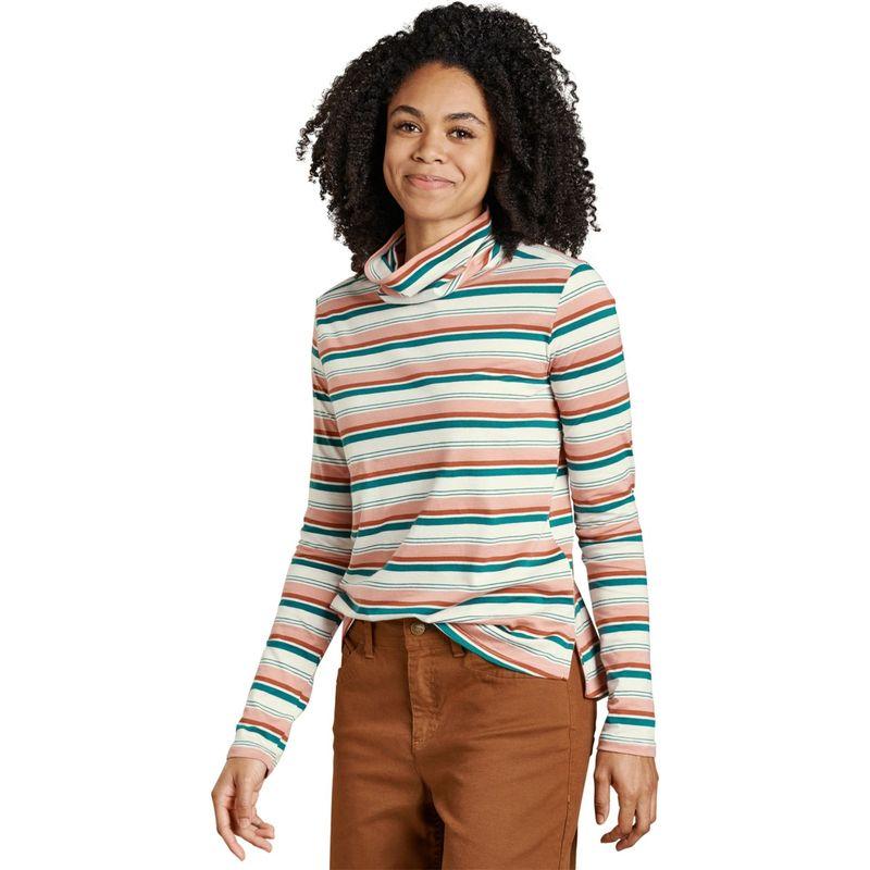 トードアンドコー レディース シャツ トップス Womens Maisey Long Sleeve T-Neck XS - Egret Multi Stripe