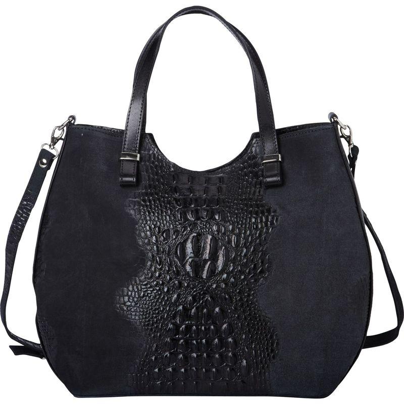 シャロレザーバッグス メンズ ハンドバッグ バッグ Alligator Textured Italian Made Leather Tote and Shoulder Bag Black
