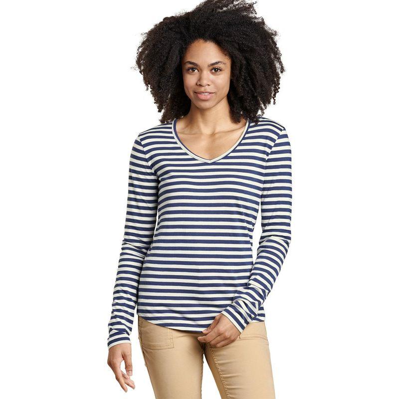 トードアンドコー レディース シャツ トップス Womens Marley Long Sleeve Tee XS - Egret Stripe