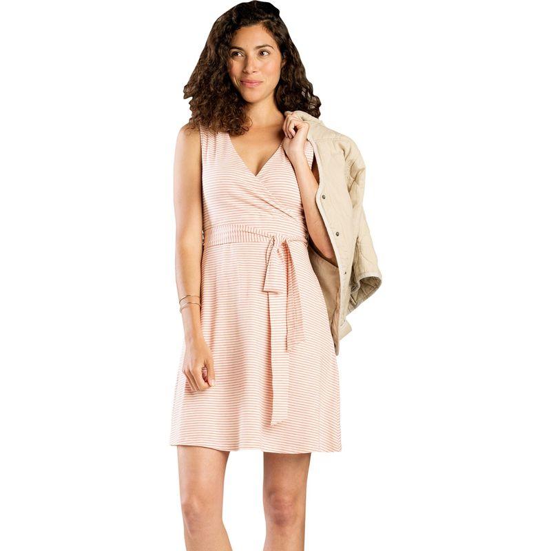 トードアンドコー レディース ワンピース トップス Womens Cue Wrap Sleeveless Dress XS - Pink Sand Mini Stripe