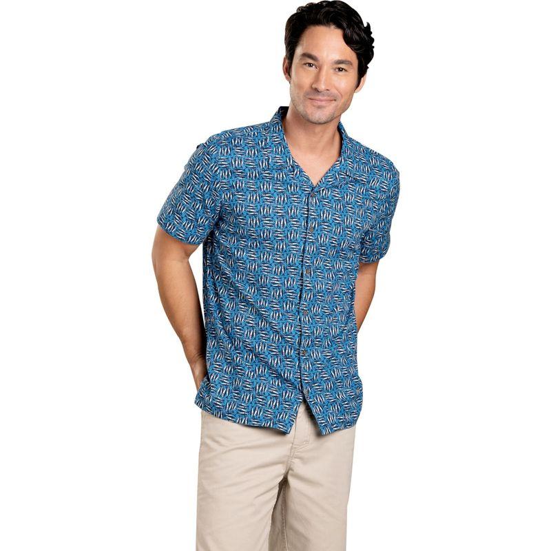 トードアンドコー メンズ シャツ トップス Mens Harbour Short Sleeve Shirt S - Beachy Blue Fish Print