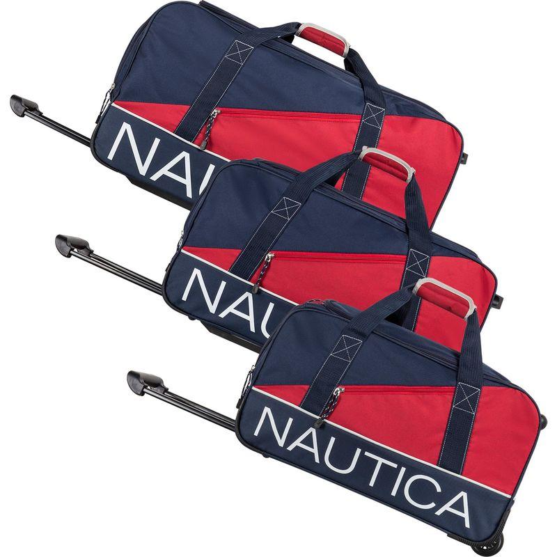 ナウティカ メンズ スーツケース バッグ Newton Creek 3 Piece Wheeled Duffel Set Navy/Red