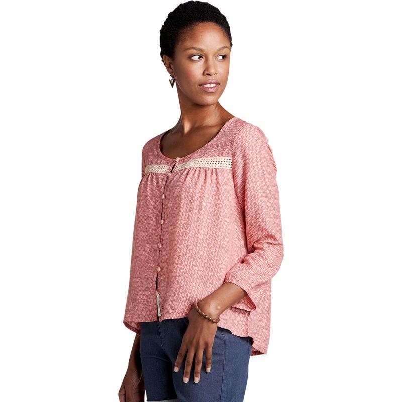 トードアンドコー レディース シャツ トップス Womens Windsong Long Sleeve Shirt XS - Guava Diamond Print