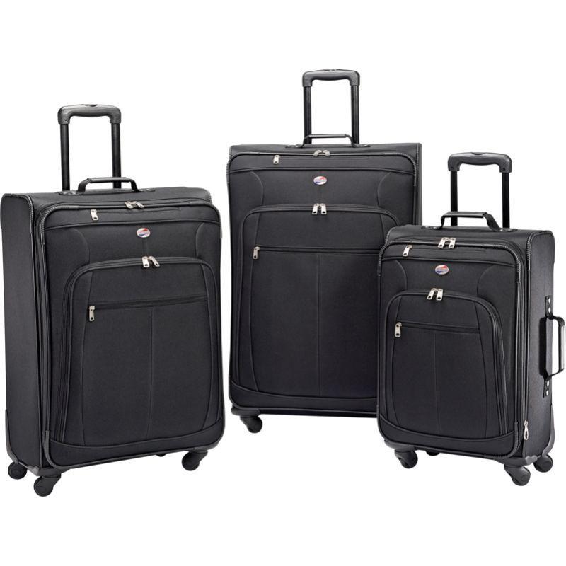 アメリカンツーリスター メンズ スーツケース バッグ Pop Plus 3pc Spinner Set Black