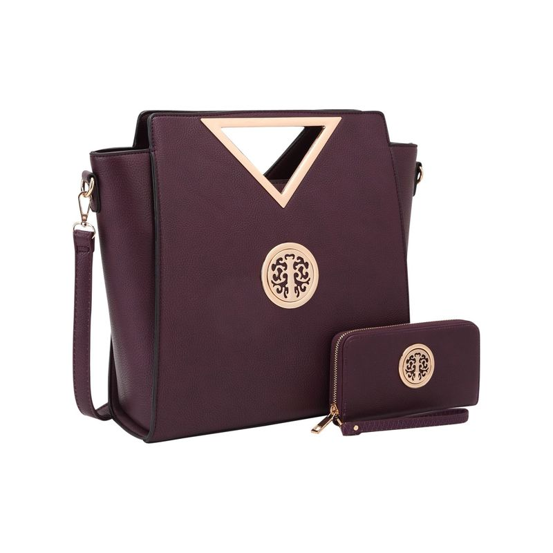 ダセイン メンズ トートバッグ バッグ Women's Medium Classic Satchel with Matching wallet Dark Purple