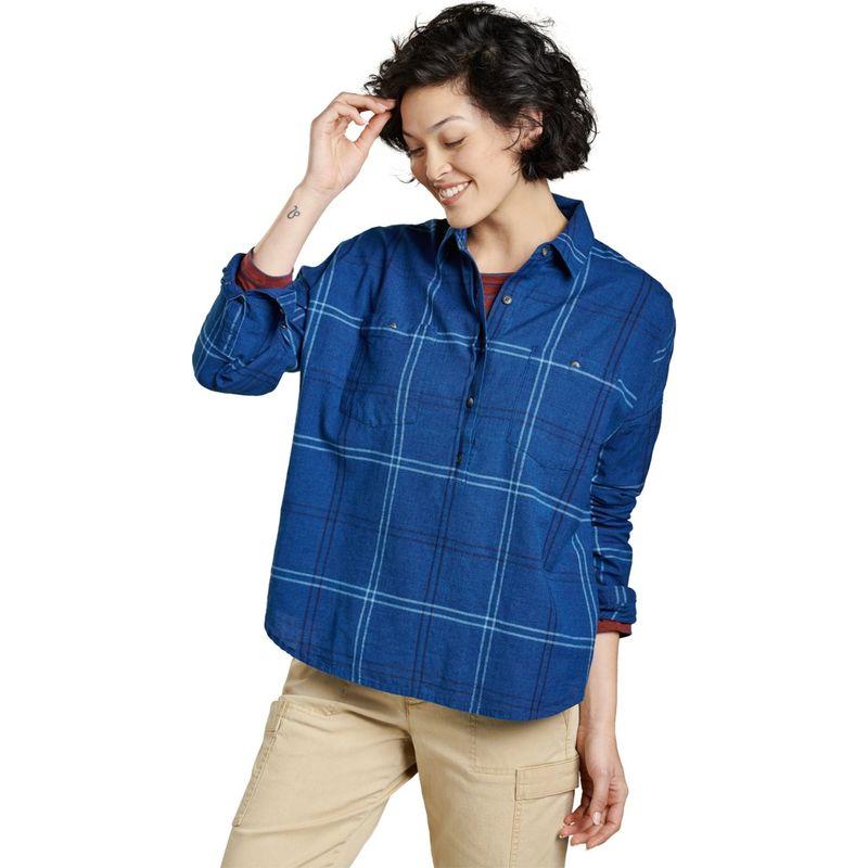 トードアンドコー レディース シャツ トップス Womens Indigo Wells Long Sleeve Popover XS - Medium Indigo Windowpane