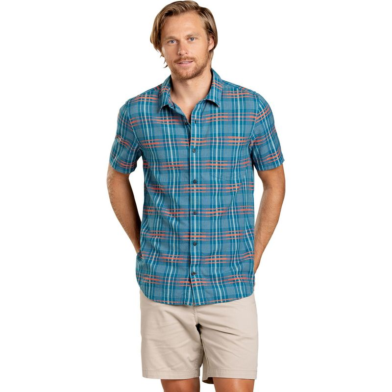 トードアンドコー メンズ シャツ トップス Mens Airboat Short Sleeve Shirt M - Poseidon