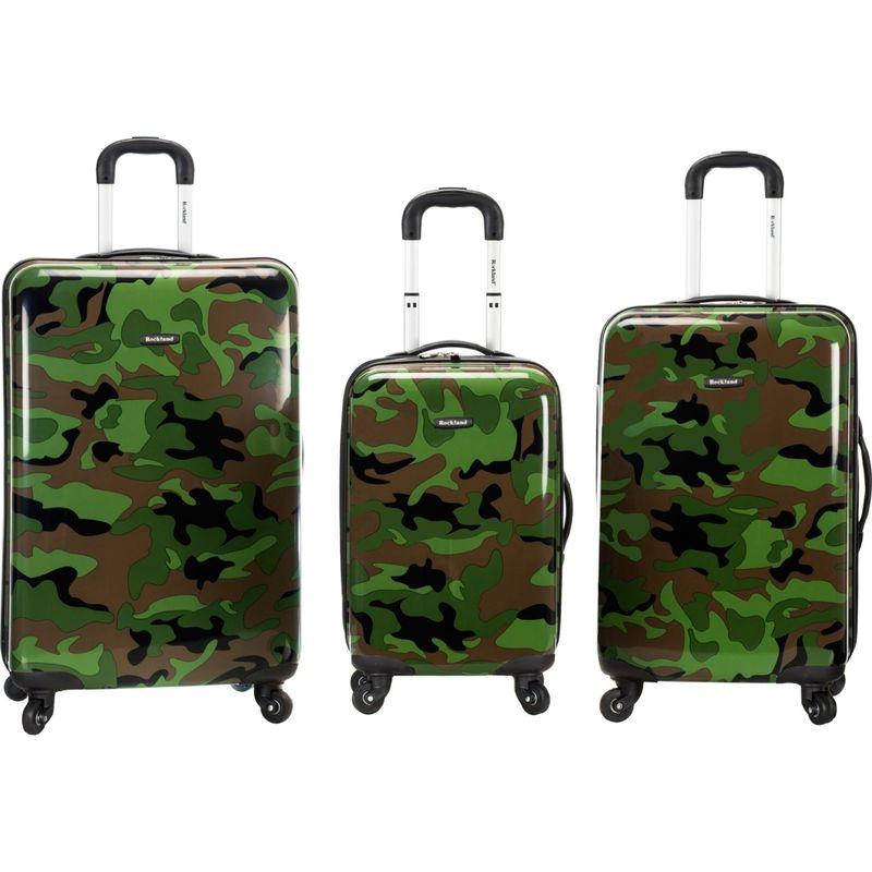 ロックランド メンズ スーツケース バッグ Safari 3 Piece Hardside Spinner Set Camouflage Green