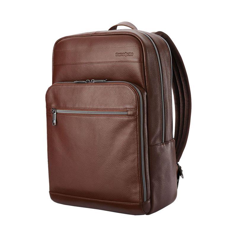 サムソナイト メンズ スーツケース バッグ Leather Slim Laptop Backpack Chesnut Brown