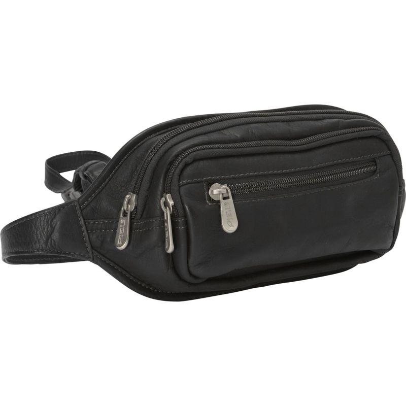 ピエール メンズ ボディバッグ・ウエストポーチ バッグ Multi-Zip Oval Waist Bag Black