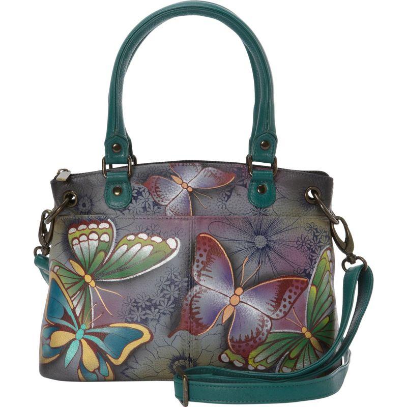 アンナバイアナシュカ メンズ ハンドバッグ バッグ Hand Painted Leather Small Satchel Butterfly Paradise