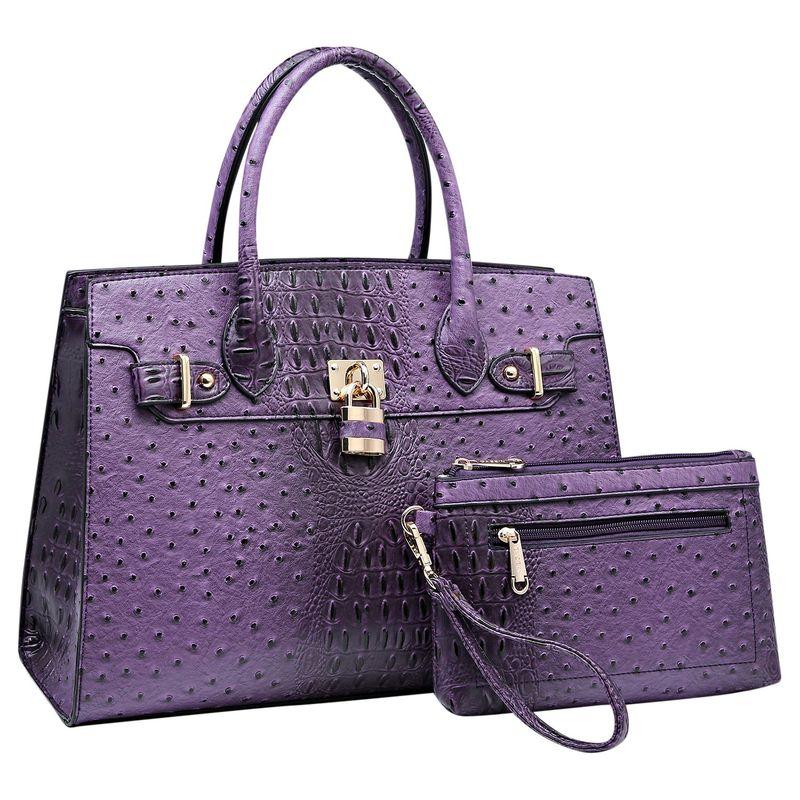 ダセイン メンズ ハンドバッグ バッグ Satchel with Padlock Deco and Matching Wristlet Purple