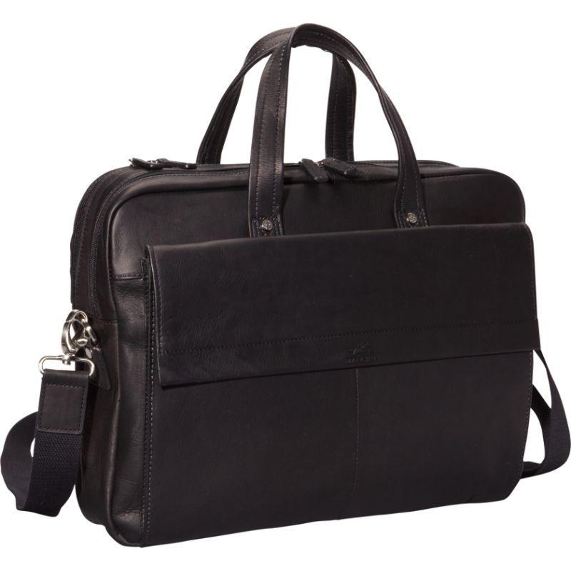 マンシニレザーグッズ メンズ スーツケース バッグ Colombian Leather Double Compartment Laptop Briefcase Black