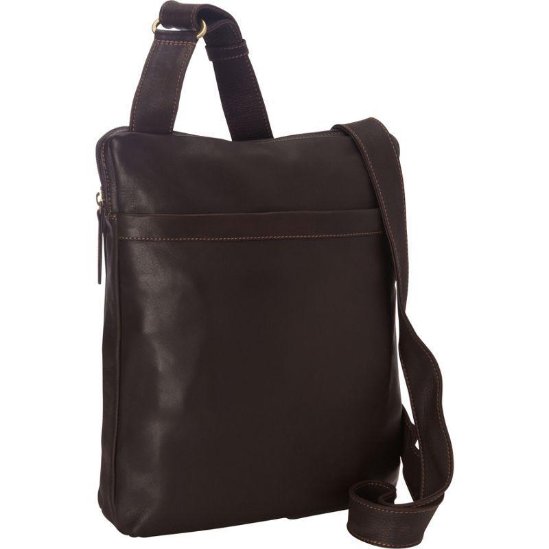 デレクアレクサンダー メンズ ショルダーバッグ バッグ NS Top Zip Unisex Messenger Bag Brown