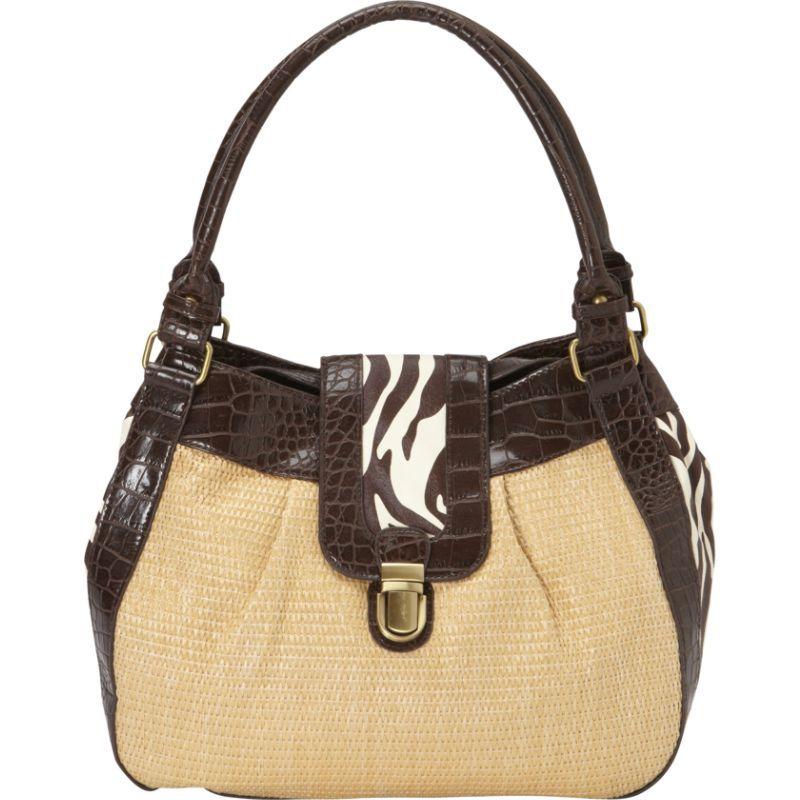ドンナベラデザインズ メンズ ショルダーバッグ バッグ Shenzi Straw & Animal Print Shoulder Bag Brown Zebra