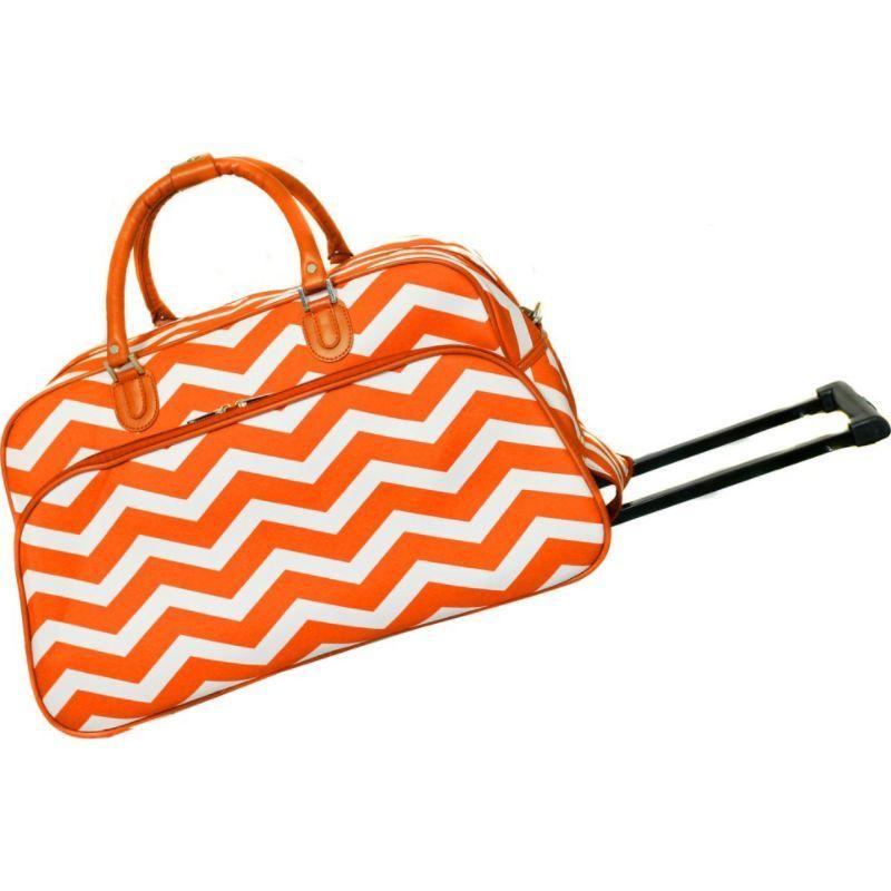 ワールドトラベラー メンズ スーツケース バッグ Chevron 21 Rolling Duffel Bag Orange White Chevron