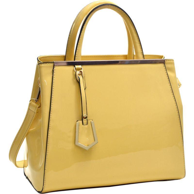ダセイン メンズ トートバッグ バッグ Patent Faux Leather Tote with Gold-Tone Accent Yellow
