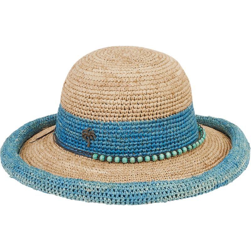 サンアンドサンド メンズ 帽子 アクセサリー Natural Raffia Finely Crocheted Turquoise
