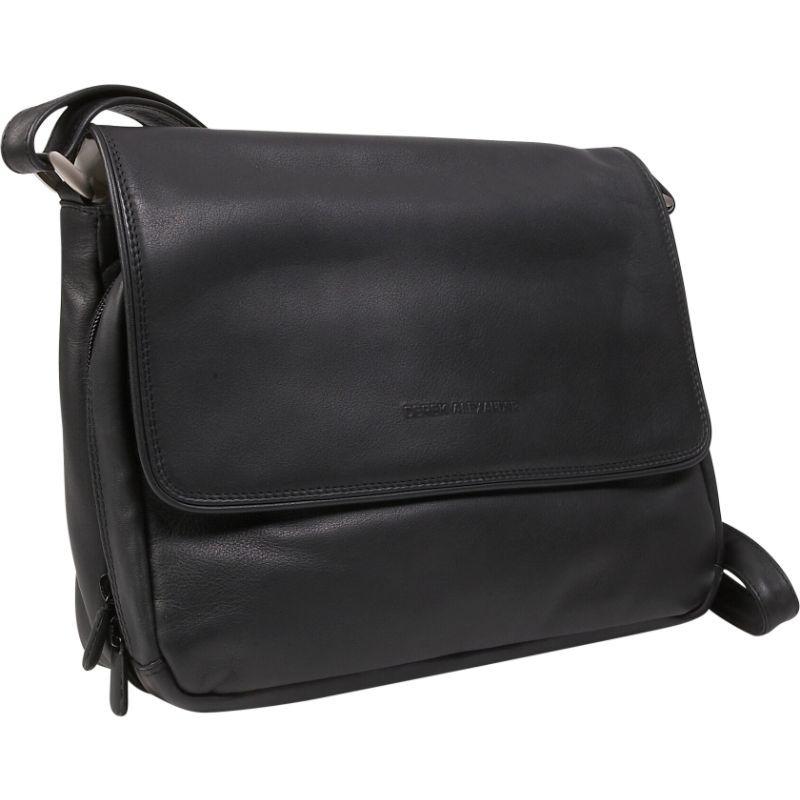 デレクアレクサンダー メンズ ショルダーバッグ バッグ Three Quarter Front Flap Handbag Black