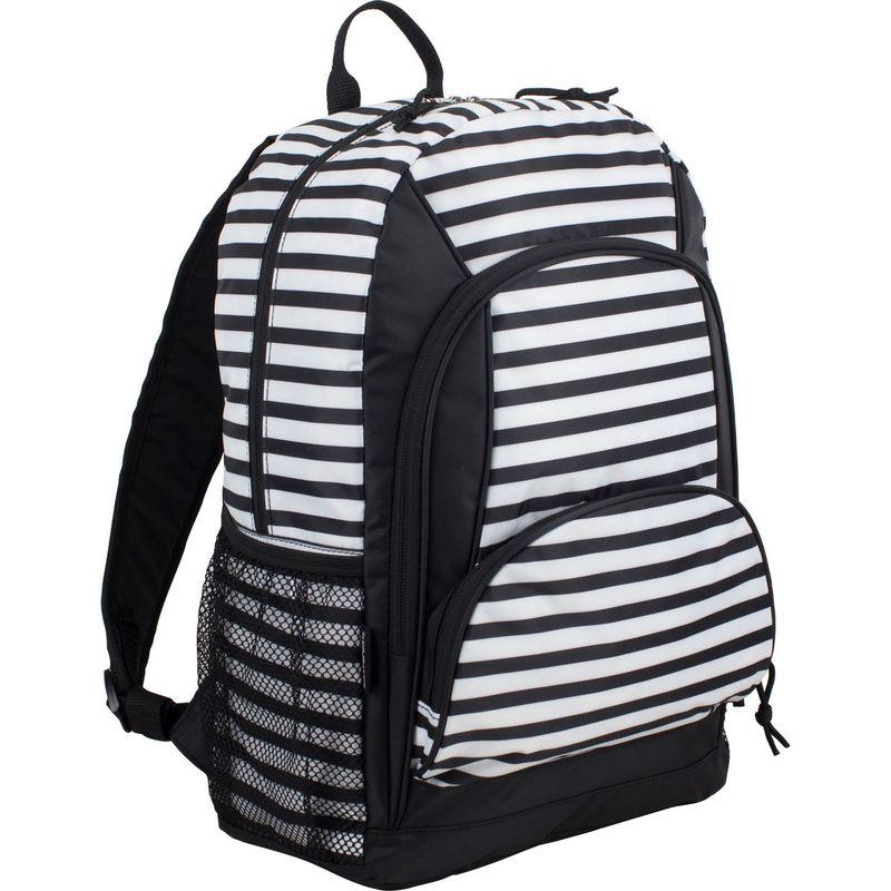 イーストポート メンズ バックパック・リュックサック バッグ Multi Pocket Casual Laptop Backpack Black/White Stripes
