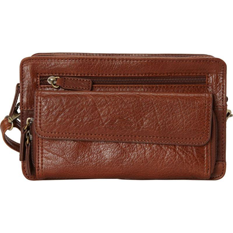 マンシニレザーグッズ メンズ ショルダーバッグ バッグ Unisex Bag with Zippered Organizer Pocket Cognac