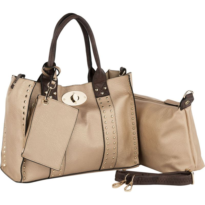 MKFコレクション メンズ ハンドバッグ バッグ Elissa 3 Piece Satchel with Pouch and Coin Purse Rose Gold-Coffee
