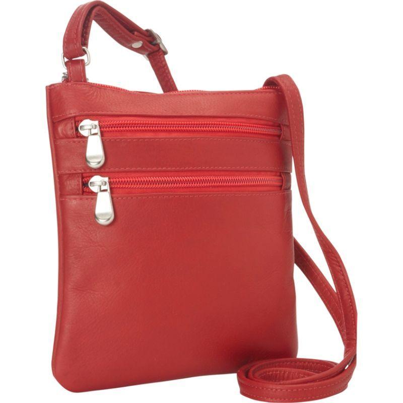 ルドネレザー メンズ ボディバッグ・ウエストポーチ バッグ Two Zip Crossbody Minibag Red
