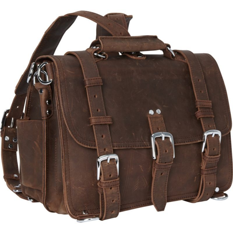 ヴァガボンドトラベラー メンズ スーツケース バッグ 16 Large Full Leather Briefcase & Backpack Vintage Brown