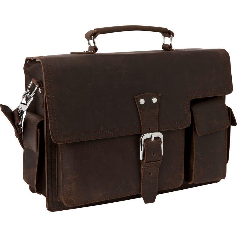 ヴァガボンドトラベラー メンズ スーツケース バッグ 16 Leather Laptop Briefcase Dark Brown