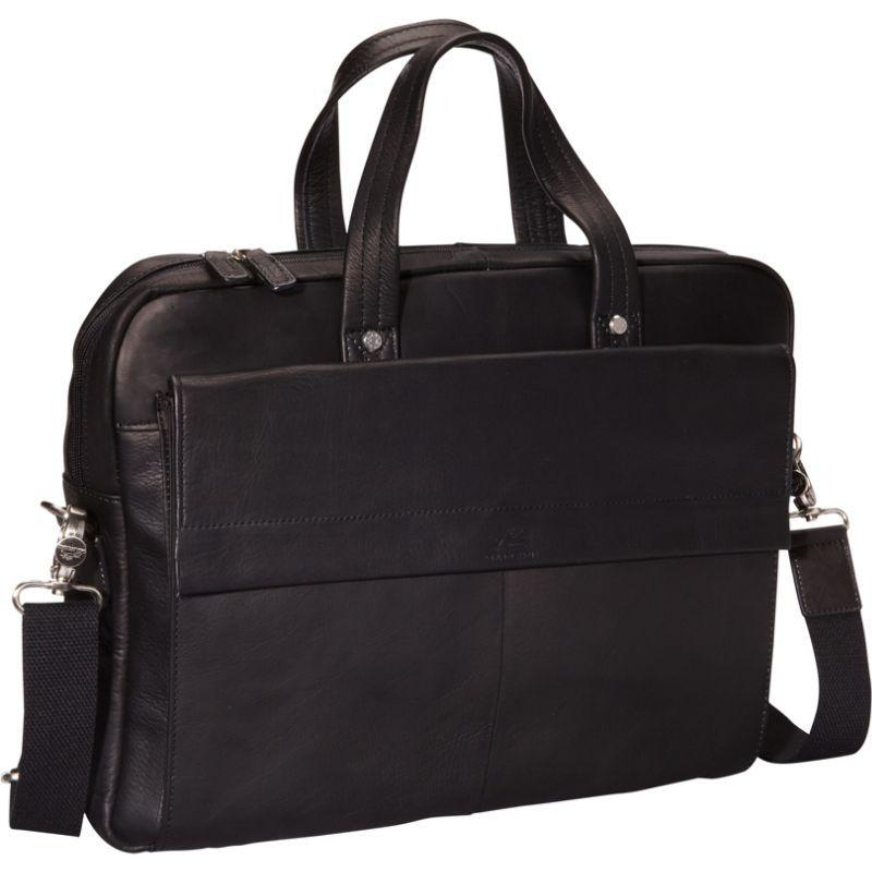 マンシニレザーグッズ メンズ スーツケース バッグ Colombian Leather Slim 17 Laptop/Tablet Briefcase Black