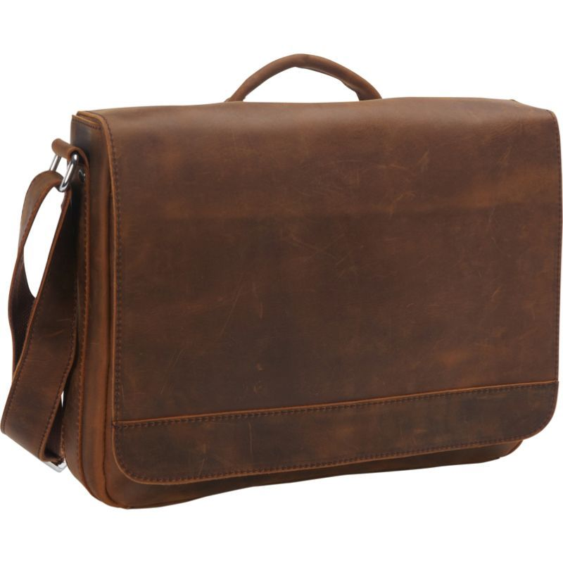 ヴァガボンドトラベラー メンズ スーツケース バッグ 15 Cowhide Leather Casual Messenger Bag with Top Lift Handle Vintage Brown
