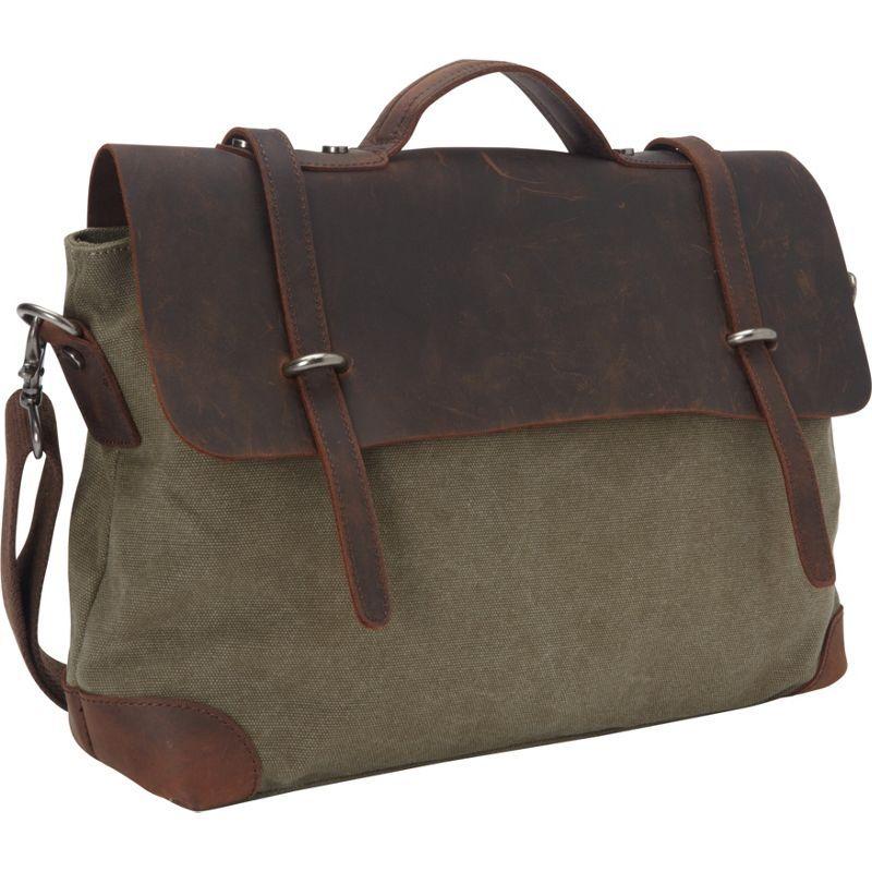 ヴァガボンドトラベラー メンズ ショルダーバッグ バッグ Casual Style Cowhide Leather Cotton Canvas Messenger Bag Military Green