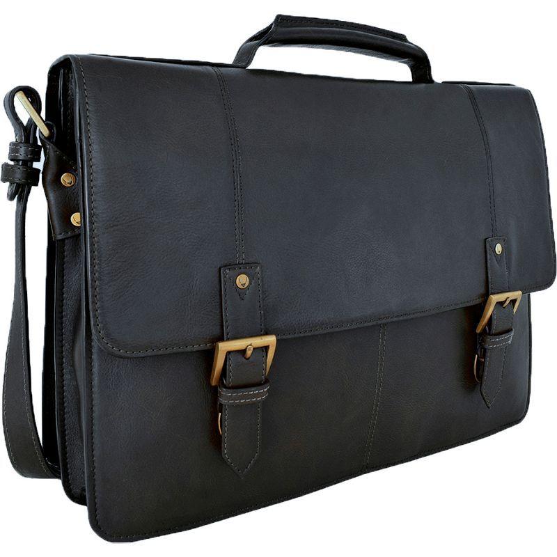 ハイデザイン メンズ スーツケース バッグ Charles Large Double Gusset Leather 17 Laptop Compatible Briefcase Work Bag Black