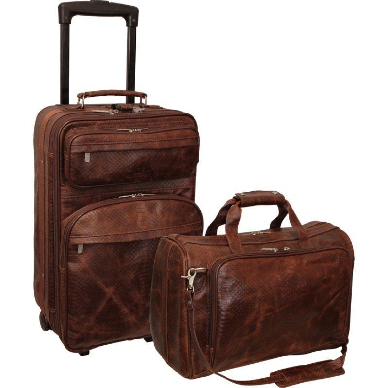 アメリ メンズ スーツケース バッグ Brown Python Print Leather Two Piece Set Traveler Brown Python