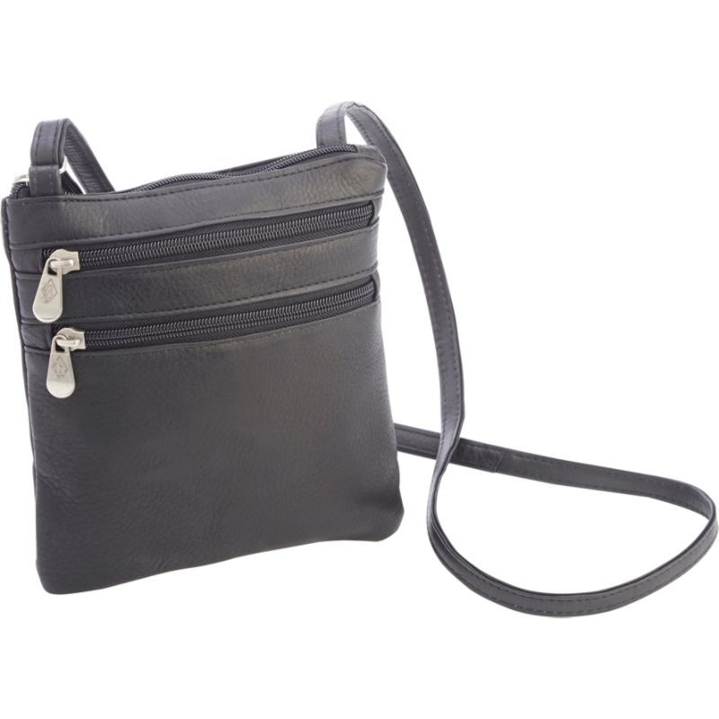 ロイスレザー メンズ ショルダーバッグ バッグ Colombian Leather Double Zip Crossbody Black
