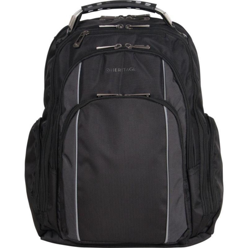 ヘリテージ メンズ スーツケース バッグ Uptown Urbanite Dual Compartment TSA Checkpoint Friendly 17 Computer Business Backpack Black With Charcoal Trim