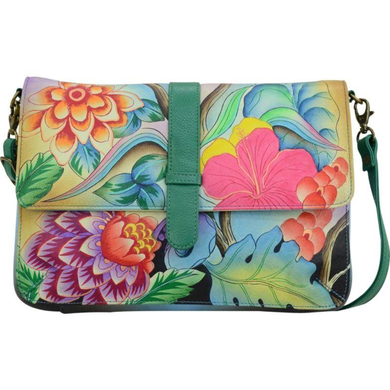 アンナバイアナシュカ メンズ ボディバッグ・ウエストポーチ バッグ Hand Painted Medium Flap Messenger Whimsical Garden