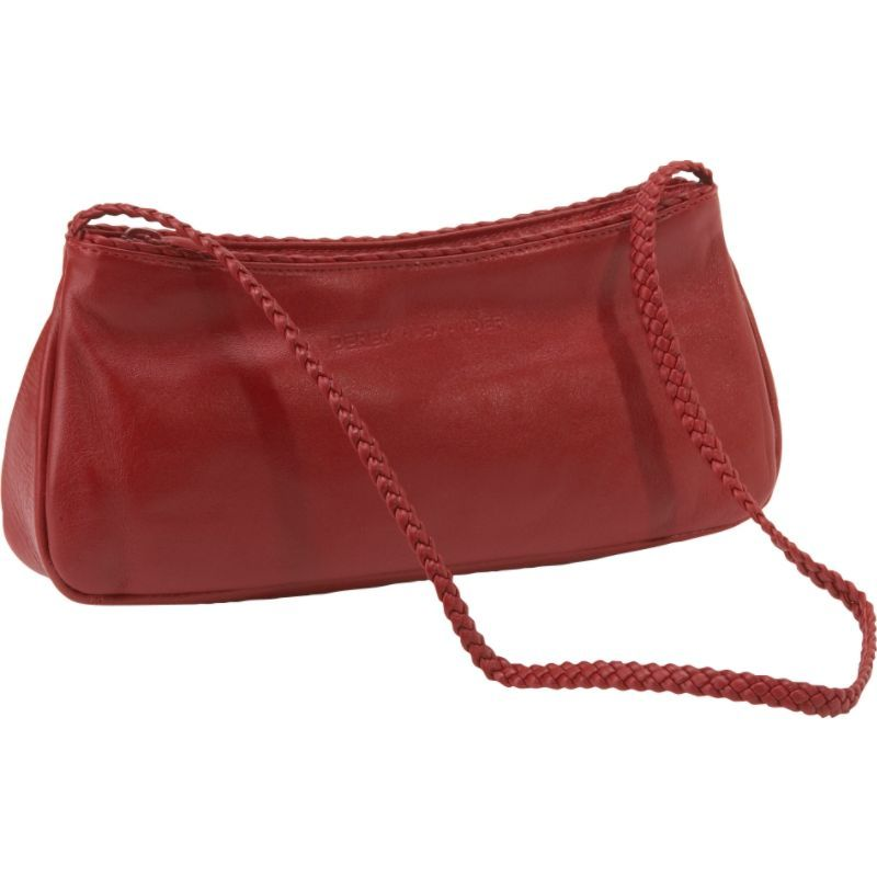 デレクアレクサンダー メンズ ショルダーバッグ バッグ Small East West Top Zip with Braided Strap Red