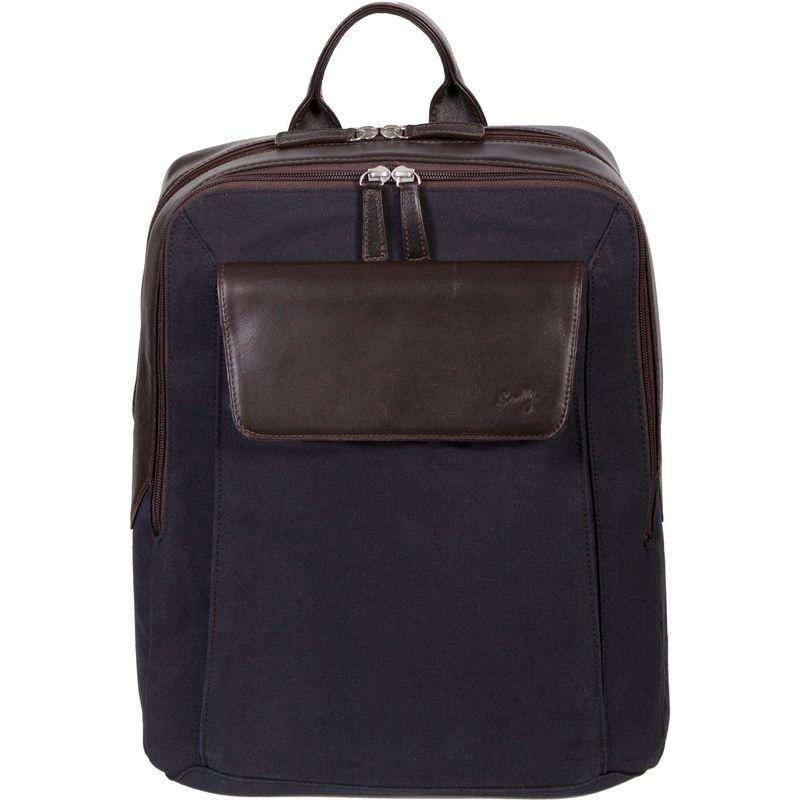 スカーリー メンズ スーツケース バッグ Cambria Backpack Brown Leather & Midnight Navy Canvas