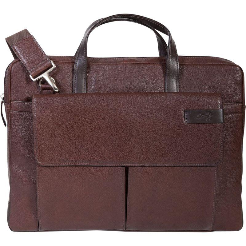 スカーリー メンズ ショルダーバッグ バッグ Sierra Leather Top Zip Closure Workbag Brown