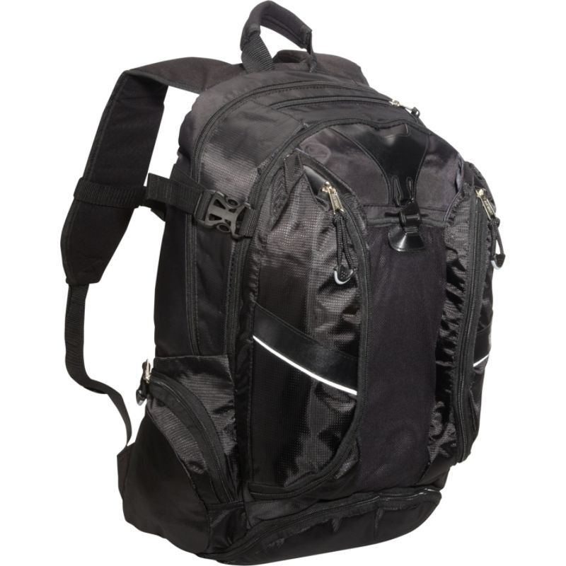 イーストポート メンズ バックパック・リュックサック バッグ Backpack with Multi Pocket Org. System Black