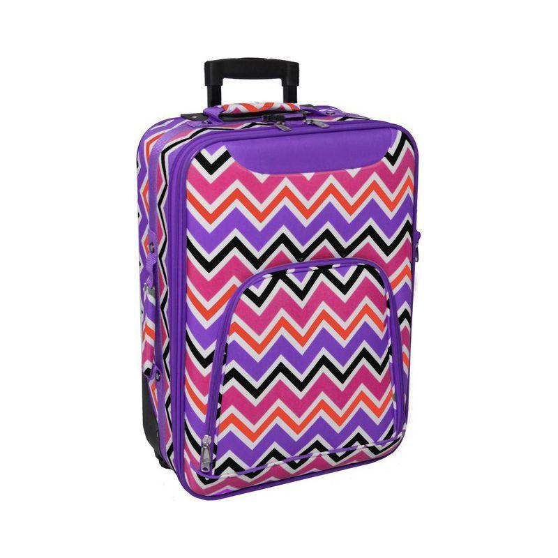 ワールドトラベラー メンズ スーツケース バッグ Chevron Multi 20 Rolling Carry-On Purple Trim Chevron Multi