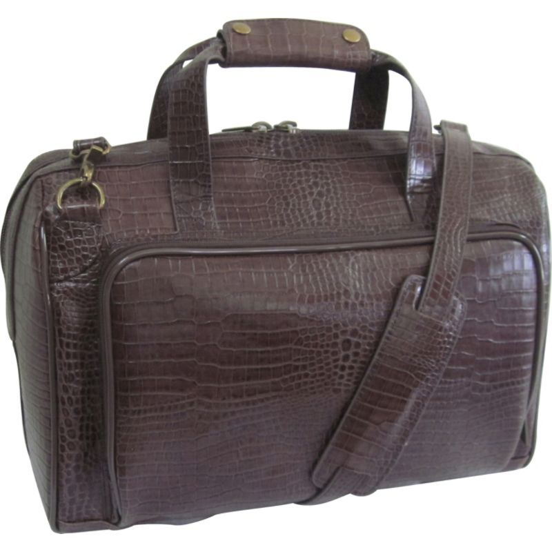 アメリ メンズ スーツケース バッグ Croco-Print 16 Leather Carry-On Weekend Duffel Dark Brown Croco-Print