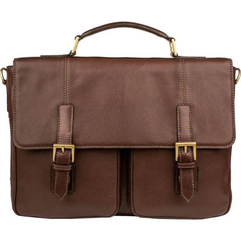 スカーリー メンズ スーツケース バッグ Ranchero Leather Laptop / Tablet Twin Buckle Workbag Brown