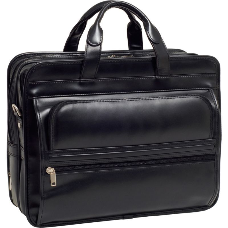 マックレイン メンズ スーツケース バッグ P Series Elston 15.6 Leather Double Compartment Laptop Case Black